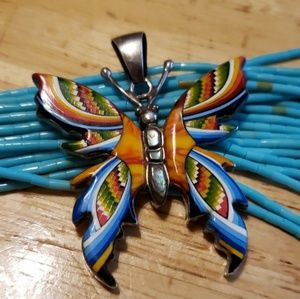 Turquoise Spiny Oyster Sterling Butterfly Pendant